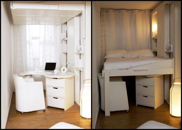 Hochbetten Erwachsene Kleiner Raum Weiße Möbel | Hochbett ... Schlafzimmer Und Arbeitszimmer In Einem Raum