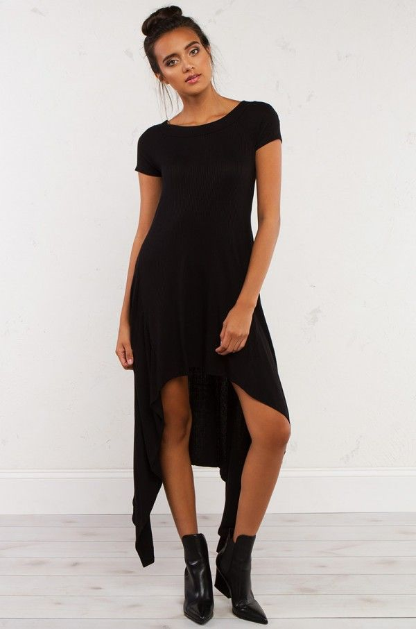 HIGH LOW RIBBED SOFT DRESS