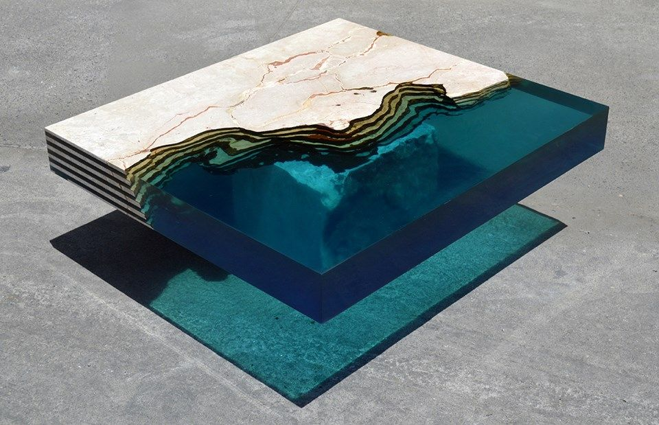 Awesome New Resin And Stone Table Captures The Unique Beauty Of The Caribbean Sea