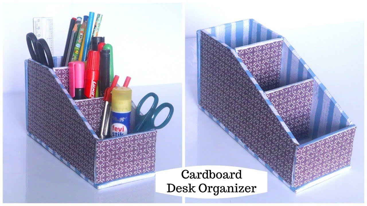 Diy Cardboard Organizer Desk Organizer Cardboard Crafts Easy Youtube Cardboard Organizer Cardboard Crafts Arts And Crafts Interiors
