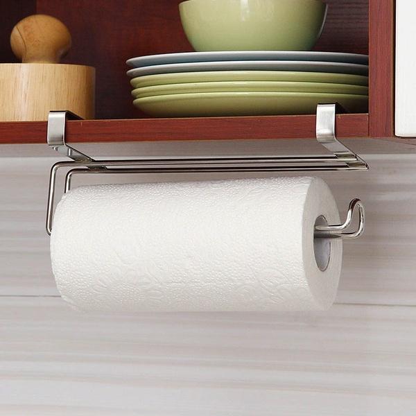 Paper Roll Towel Holder Stainless Steel Racks Under Drawer Cabinet Door Back Hanging Hook Holder Kitchen Bathroom Gadget In 2020 Kitchen Paper Towel Paper Towel Holder Towel Holder