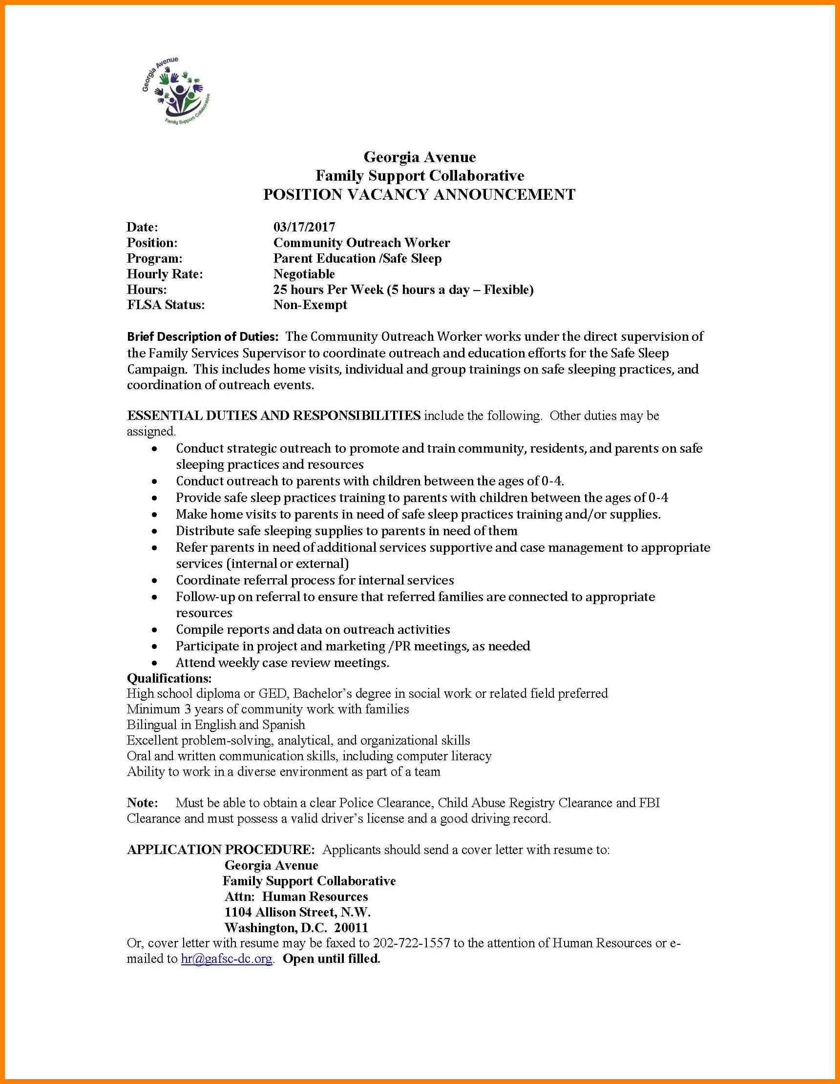 Community Outreach Worker Cover Letter Support Child Inside Community Service Template Word Cumed Org Community Outreach Outreach Cover Letter