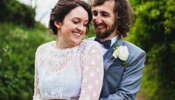 A Pale Blue Wedding Dress for a Pretty Spring Time Barn Wedding