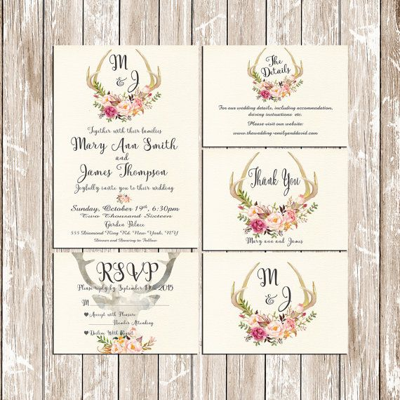 Invitation Kit Deer Antler Wedding By Happylifeprintables On Etsy