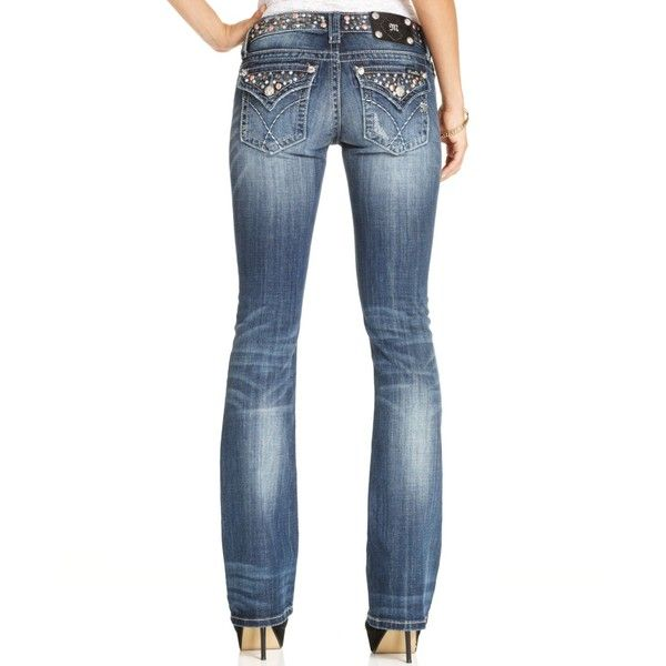 Miss Me Jeans, Bootcut Studded Medium-Wash by None, via Polyvore
