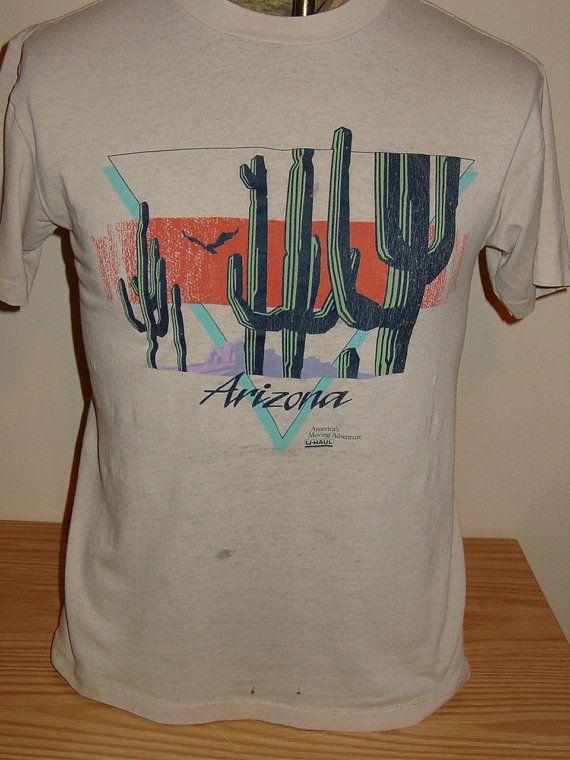 47be0d7f vintage 1980s Arizona tourist t shirt - 50/50 - THIN and DAMAGE - MEDIUM