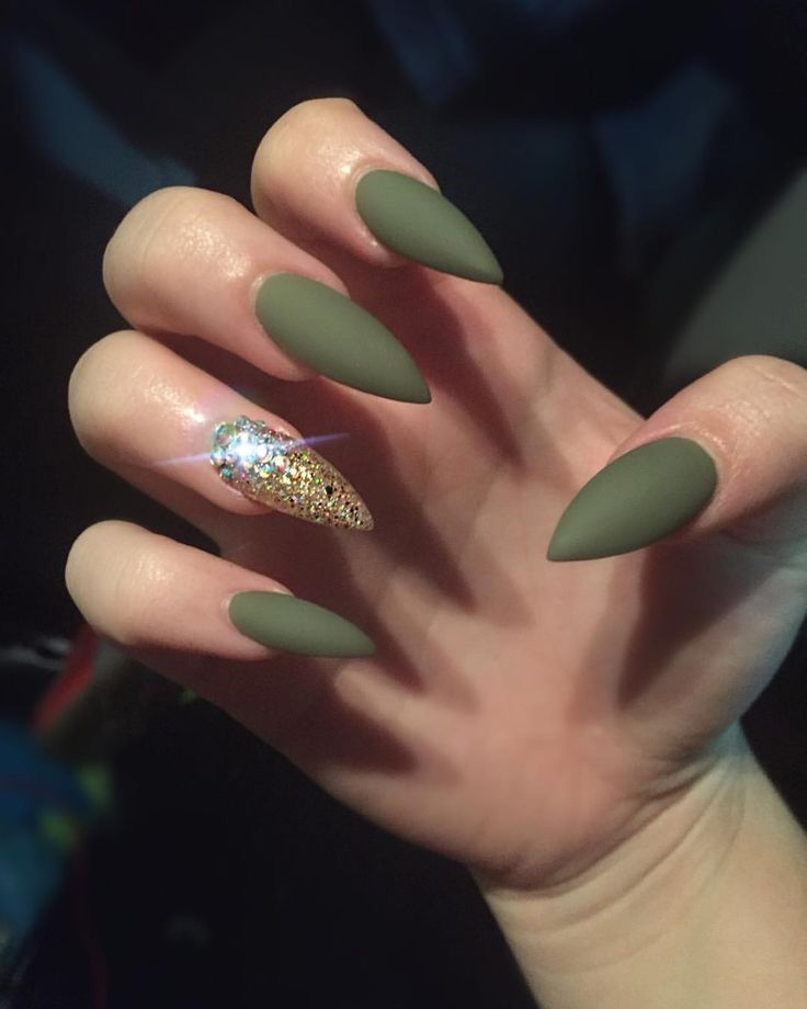 Olive Green Matte With Gold Embellished Accent Nail
