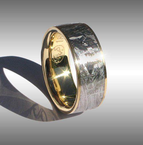 Elegant Gibeon Meteorite Ring Mens Wedding Band Pinterest
