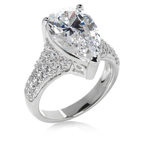 4.57ctw Absolute™ Pear-Cut and Pavé Sides Ring
