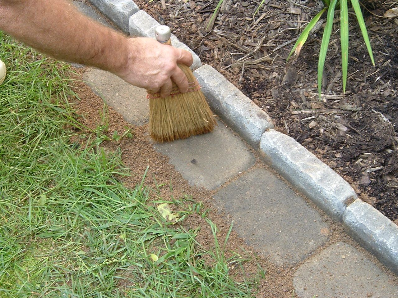 Edging a Flower Bed With Cement Pavers. (Note: I pinned this a ...