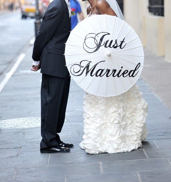 just married parasol