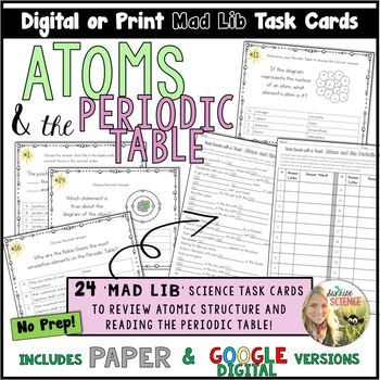 Atoms And The Periodic Table Mad Lib Task Cards Google Digital Or