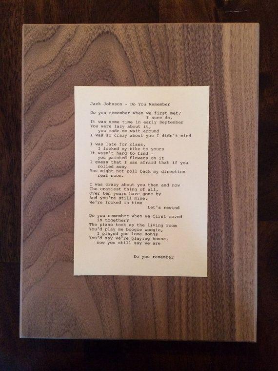 Jack Johnson Do You Remember Lyrics Original By TypographyByMel
