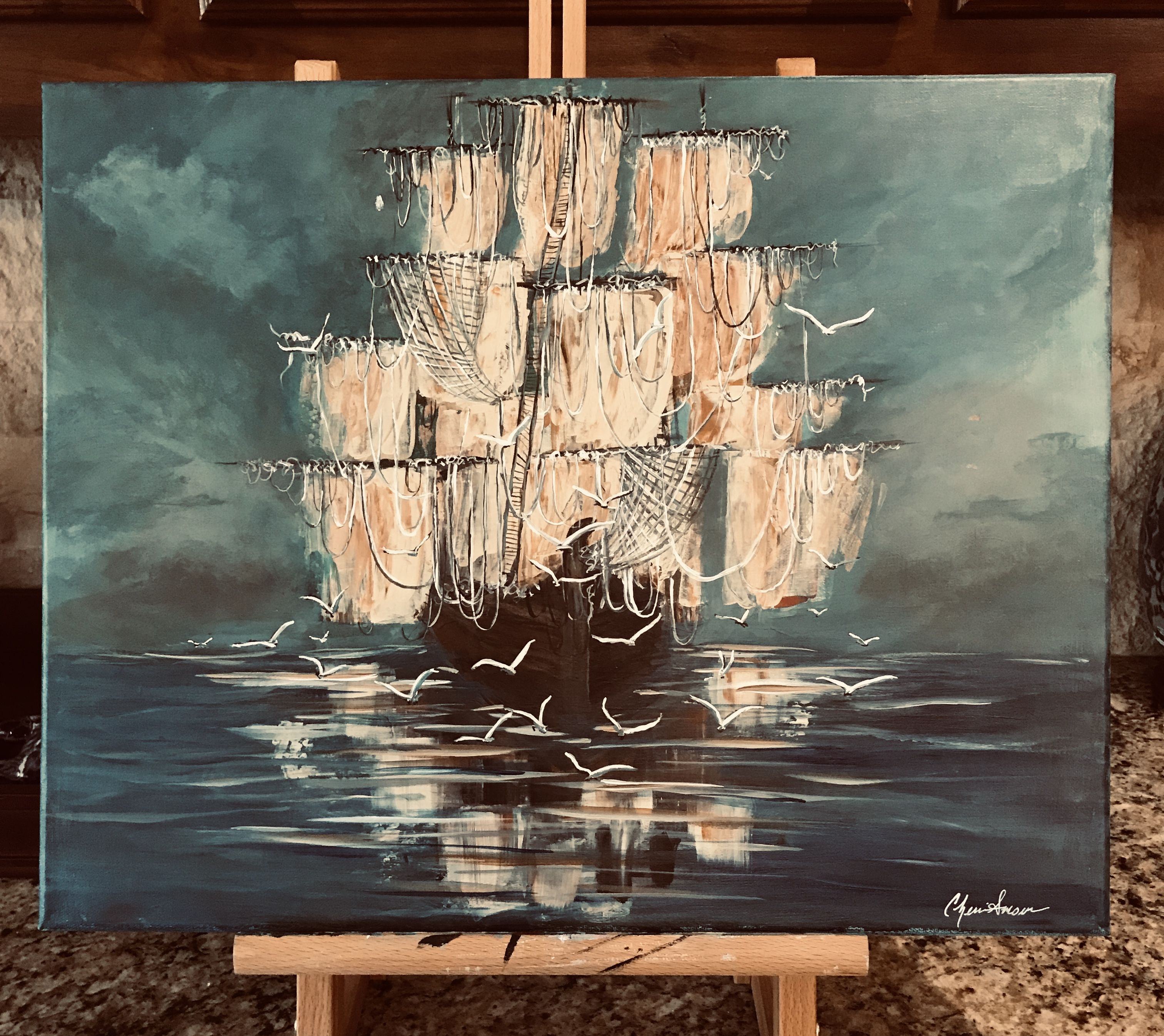 At Sea By Cherie Canvas Art Painting Painting Acrylic Painting Canvas