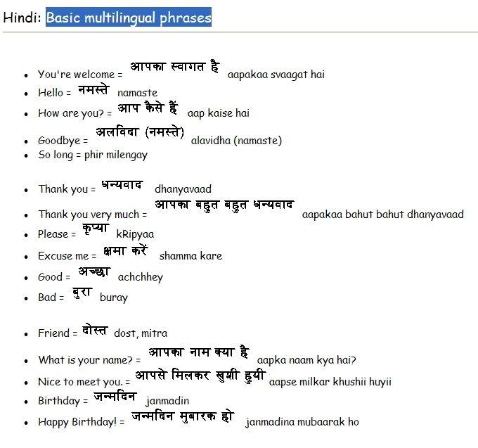 Common Hindi Phrases Hindi Language Learning Learn Hindi Hindi