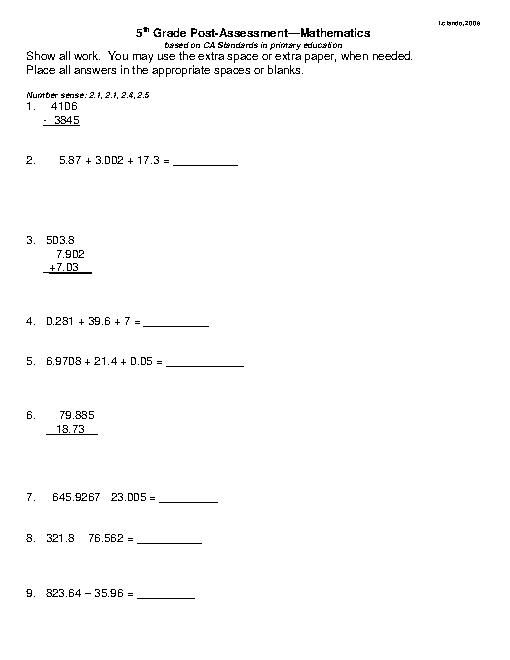 Striking image within free printable diagnostic math assessment