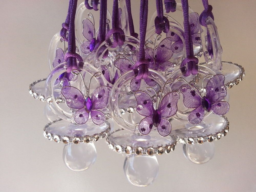 12 Purple Butterfly Pacifier Necklaces Baby Shower Games Girl Favor Prizes  Decor