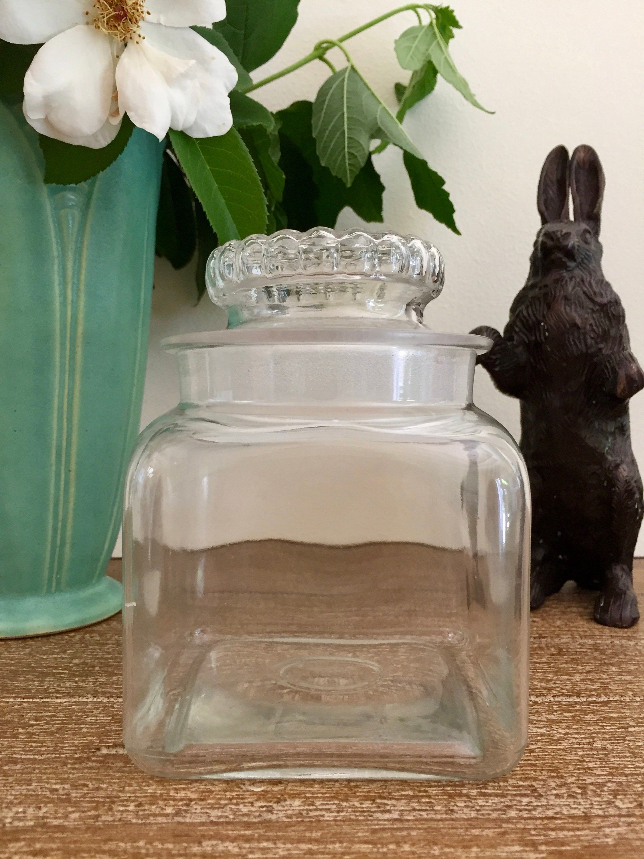Antique Glass Drugstore Counter Candy Or Gum Jar Apothecary Jar With Ground Lid Square Glass Jar Square Glass Jars Antique Glass Glass Jars