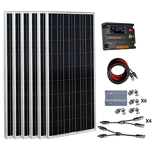 Ecoworthy 600 Watts 6pcs 100 Watt Solar Panel Kit With 20a Lcd Charge Controller For 24 Volt Battery Sys Solar Panel Kits 100 Watt Solar Panel Solar Panel Cost