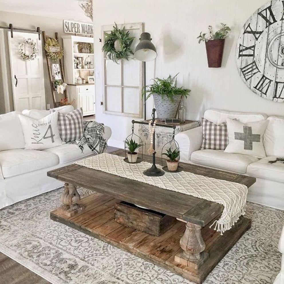 65 Cozy Farmhouse Living Room Makeover Decor Ideas ...