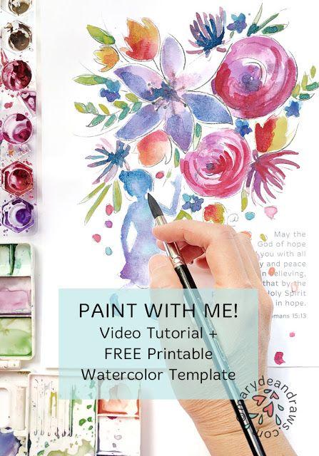 Watercolor with me! Video Tutorial + Printable Watercolor ...