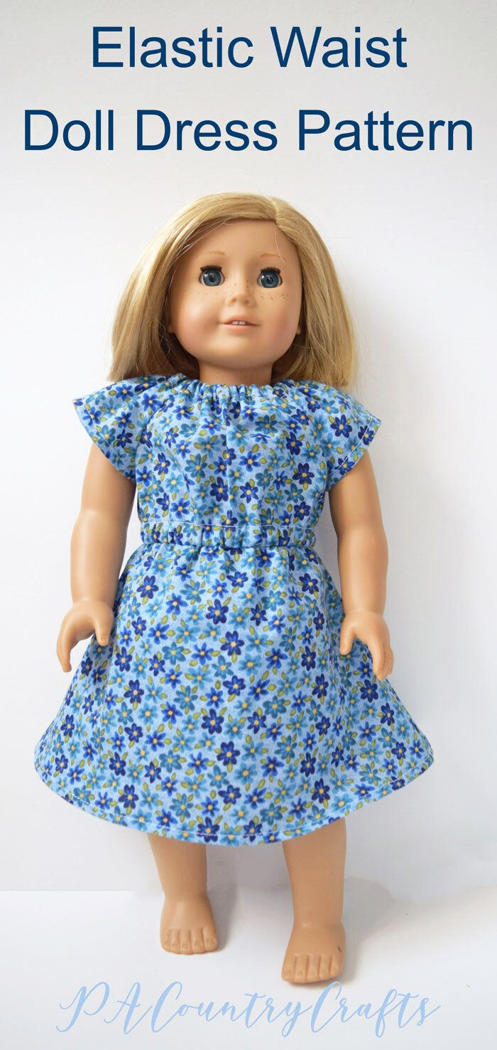 Elastic Waist Doll Dress Pattern and Tutorial #dolldresspatterns