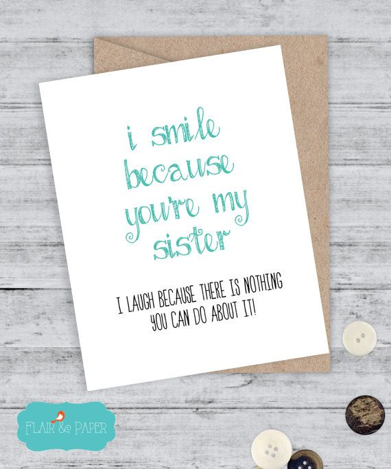 Funny Sister Birthday Card Sister Birthday Sister by FlairandPaper – Funny Birthday Greetings for Sister