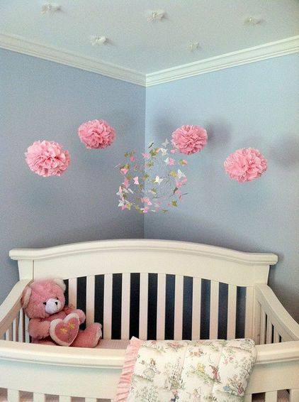 Nursery decoration baby's room hanging fur Pom-Pom mobile with butterflies