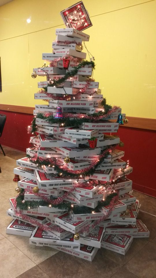Pizza Box Christmas Tree  CHRISTMAS  Pinterest  Pizza boxes and