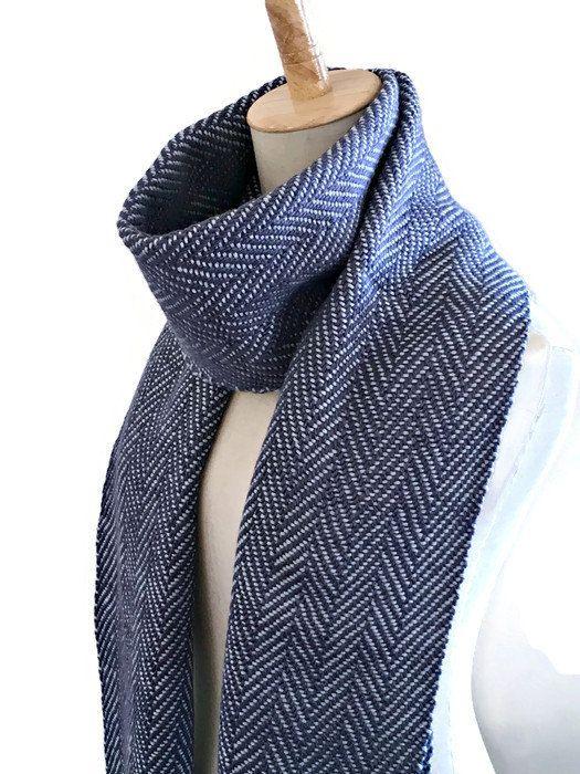 7d1c1c065 Silk Wool Handwoven Scarf, Herringbone Winter Scarf in Navy and Aqua, Warm  Woven Shawl, Women's Scarf, Twill Scarf