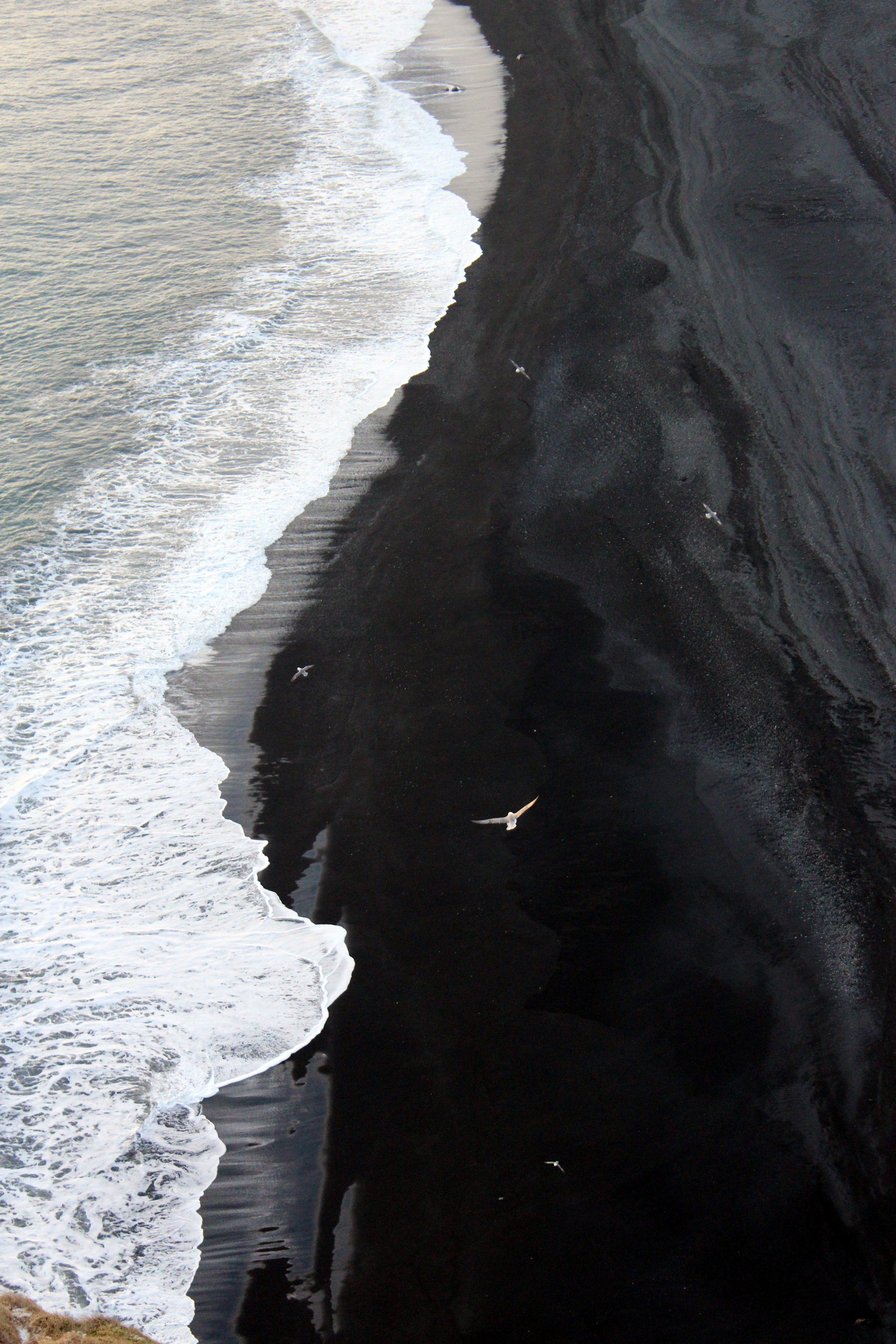 Waves along the black sand beaches in Iceland near Dyrholaey
