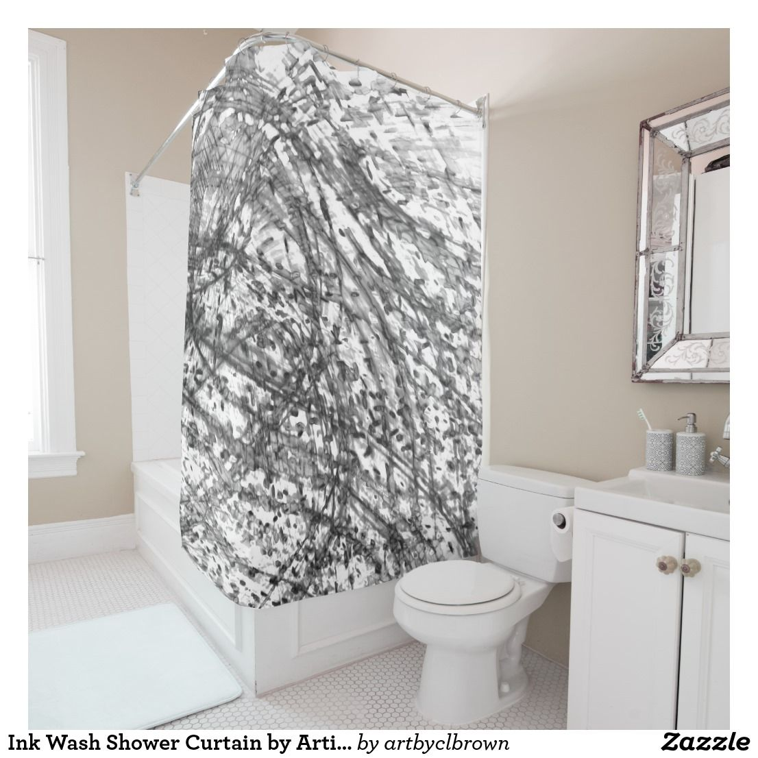 The Ink Wash Shower Curtain Designed By Artist CL Brown Features An Abstract Kinetic Light Painting Edited For Design In Contemporary Shades Of Black