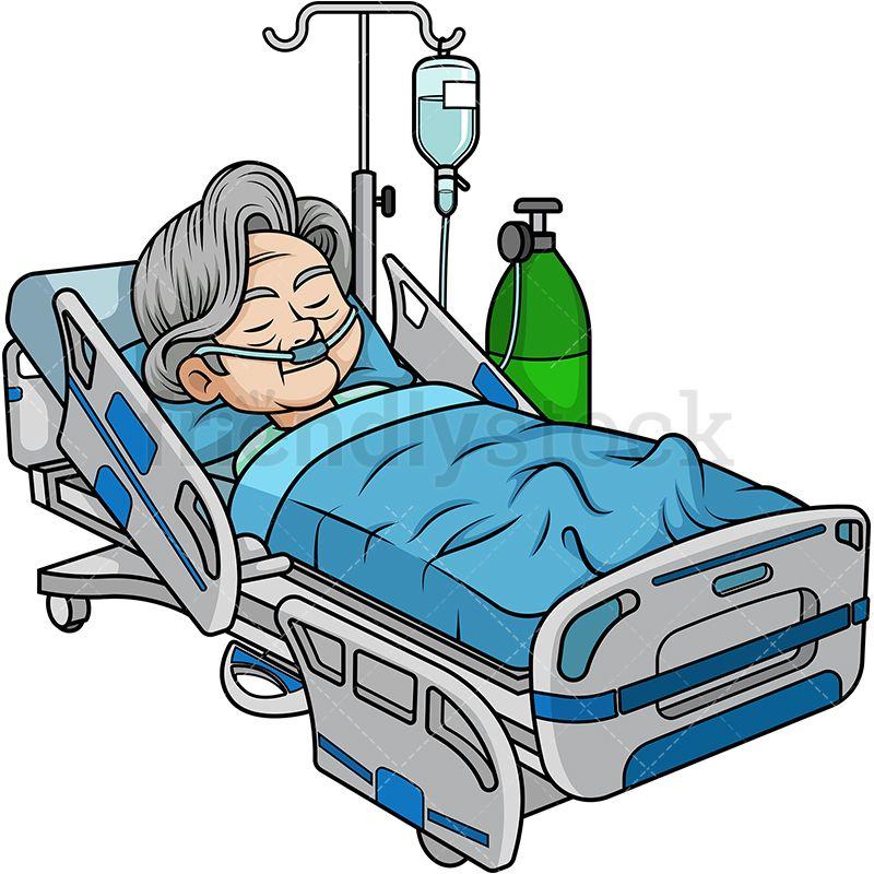 Old Woman In Hospital Bed Cartoon Clipart Vector Friendlystock Kartun Animasi Seni