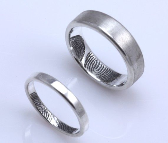 rose custom titanium ring set is shape image rings flat fingerprint couple itm s wedding loading gold engagement