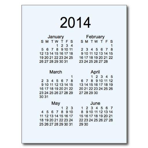 Alice Blue 2014 Mini 6 Month Calendar Post Card Design from