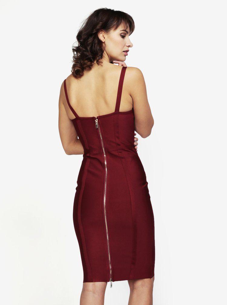 Vínové šaty se šněrováním MISSGUIDED  0d631411fe