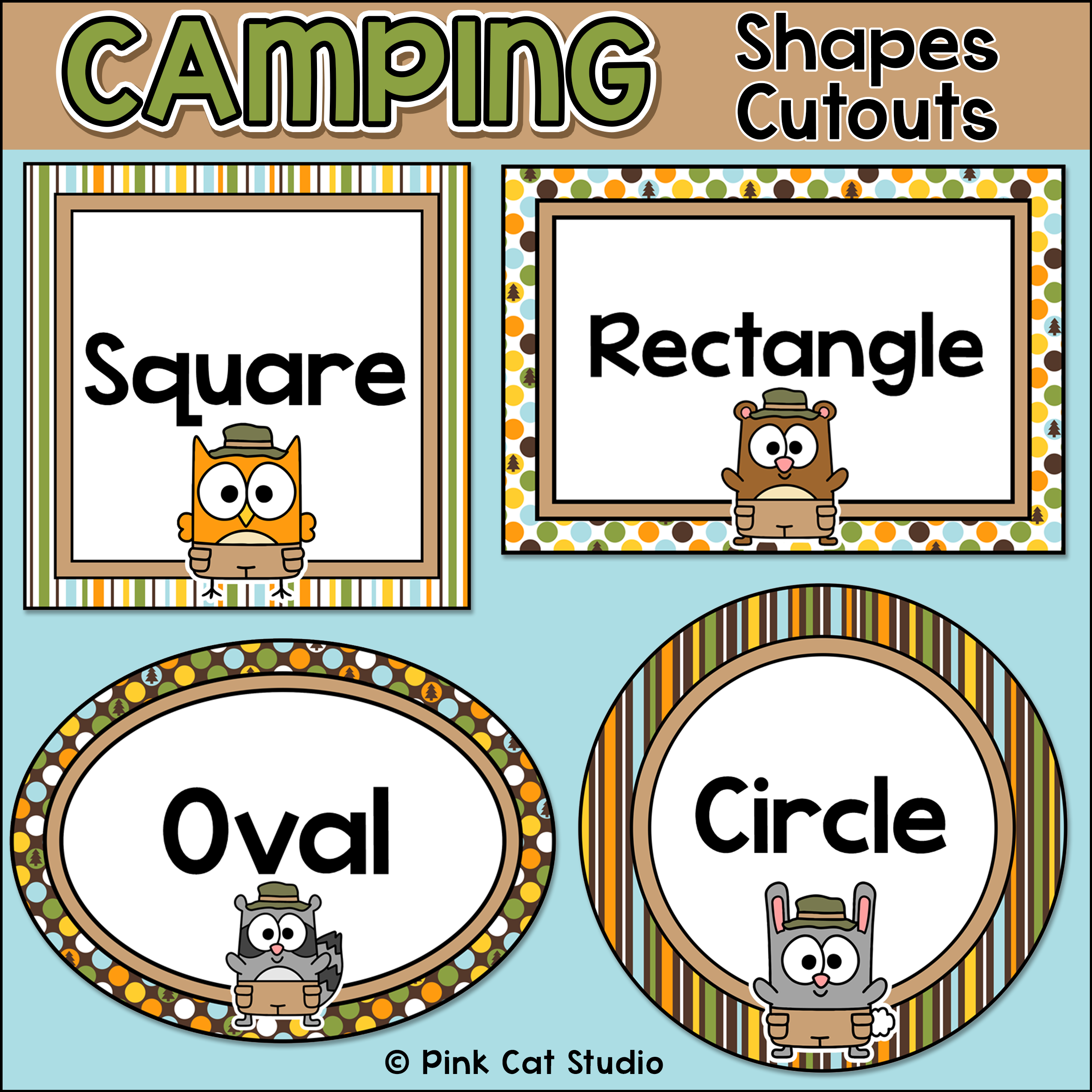 Camping Theme Shapes Cutouts