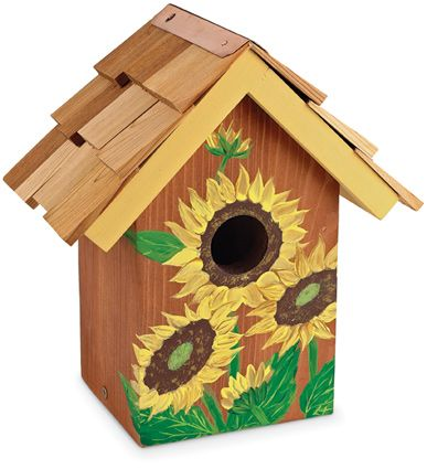 Hand Painted Sunflower Birdhouse Bird Houses Painted Birdhouse