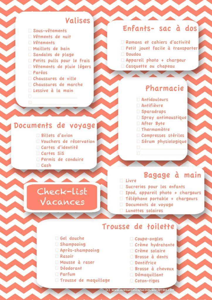 checklist vacances | Organizing life | Pinterest