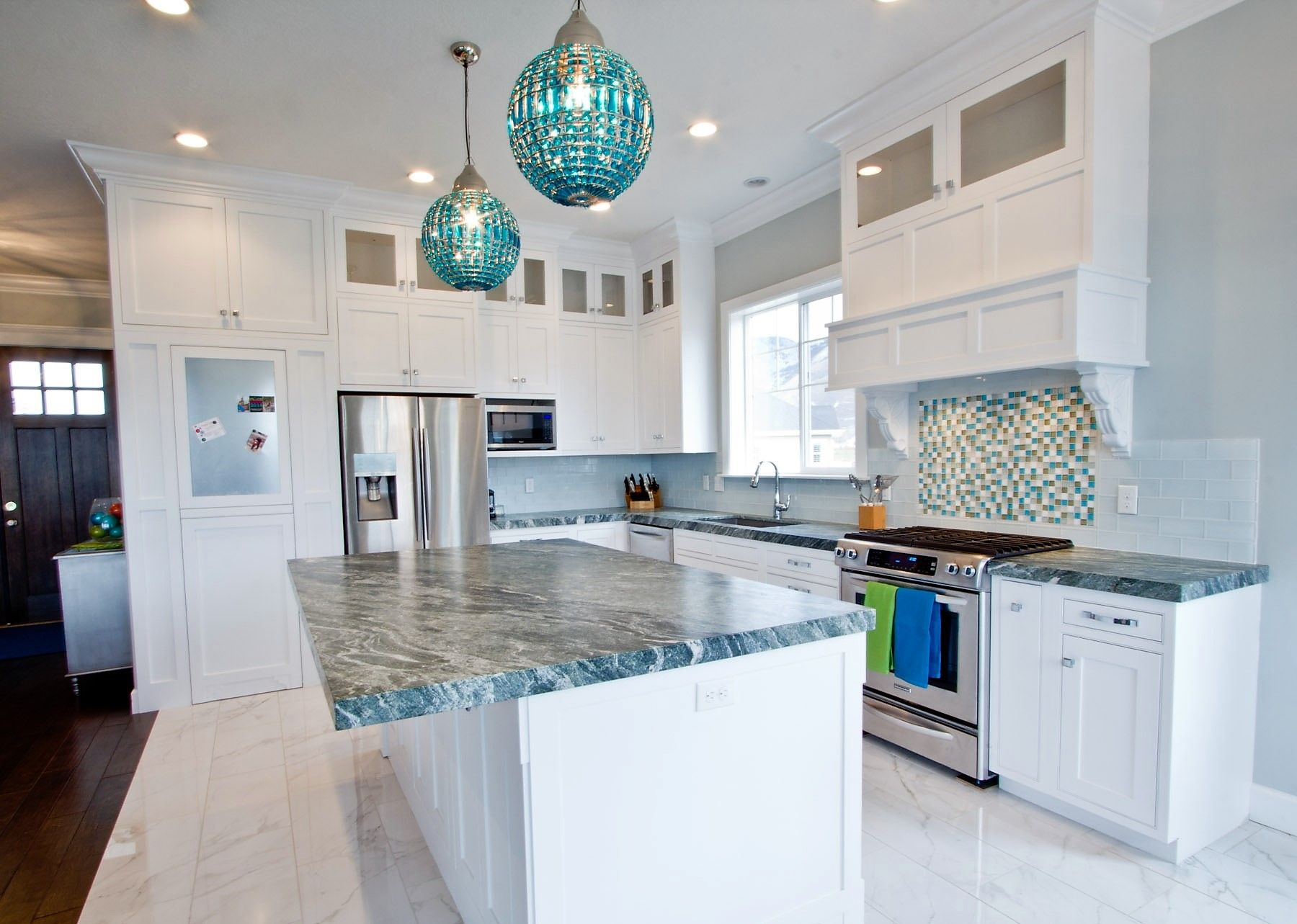 love a little bling in a kitchen, from the pendant lights over the ...