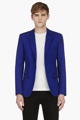 Calvin Klein Collection Royal Blue Blazer Estilos De Trajes Para Hombres f91acbba849