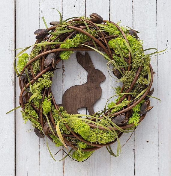 Easter wreath with rabbit spring door decorations moss decor spring wreaths