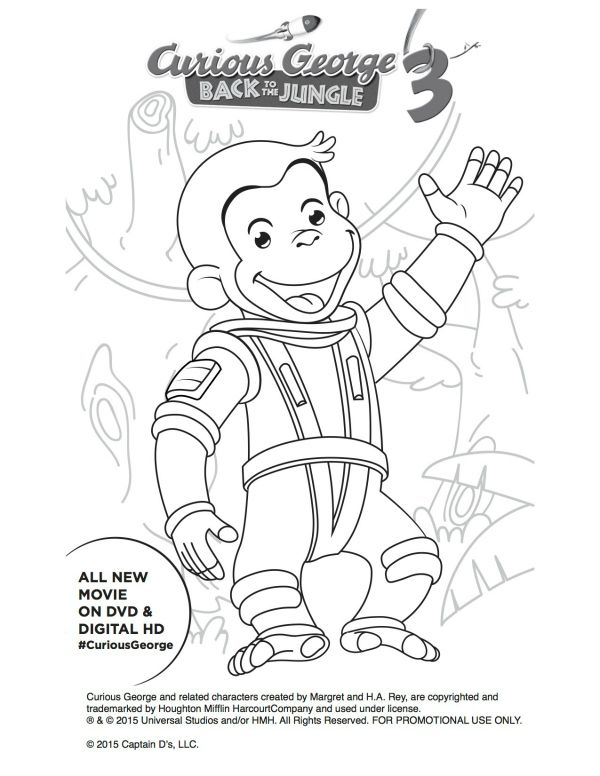 Astronaut Curious George Free Printable Coloring Page Coloring