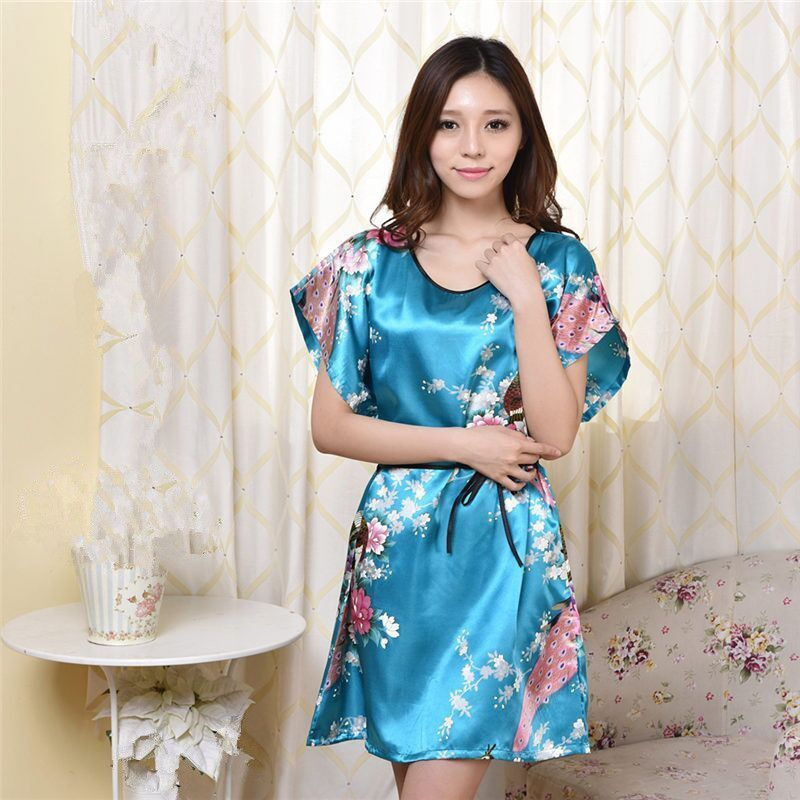 4ce82fc375 Plus Size Womens Faux Silk Robe Bath Gown Nightgown Light Blue Sexy Summer  Sleepshirts New Style ...