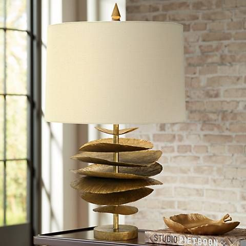 Natural Light Lily Pad Gilded Gold Iron Metal Table Lamp 9d171 Lamps Plus Metal Table Lamps Natural Table Lamps Table Lamp
