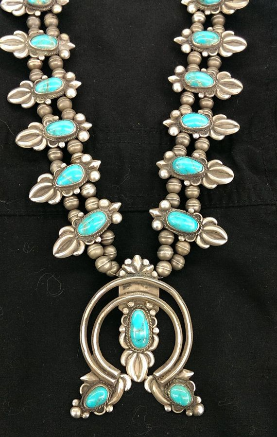 Vintage 1950's Navajo Squash Blossom Necklace by SouthwestFindings, $960.00 INCREDIBLY BEAUTIFUL!!