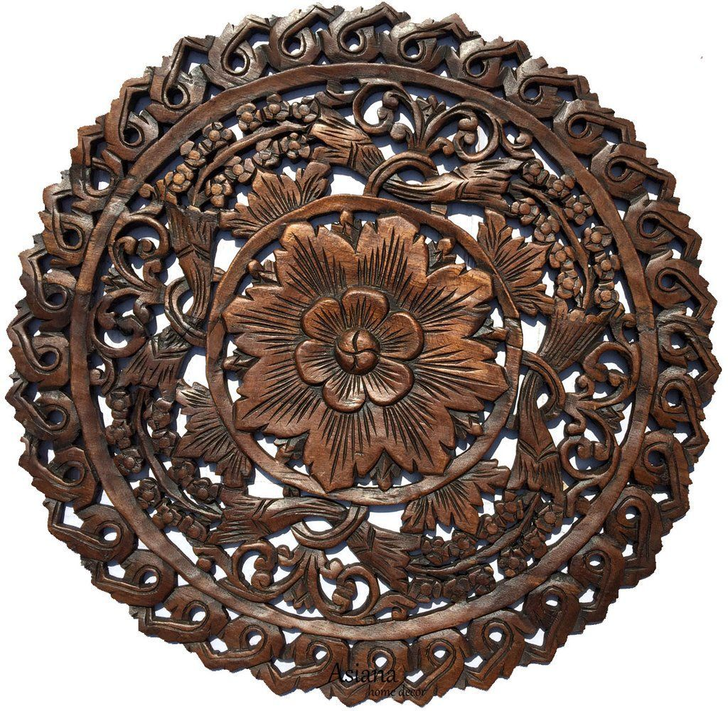 Oriental round carved wood wall decor decorative floral wall