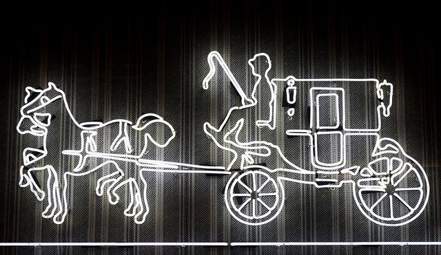 Neon horse and carriage | Coach Logo