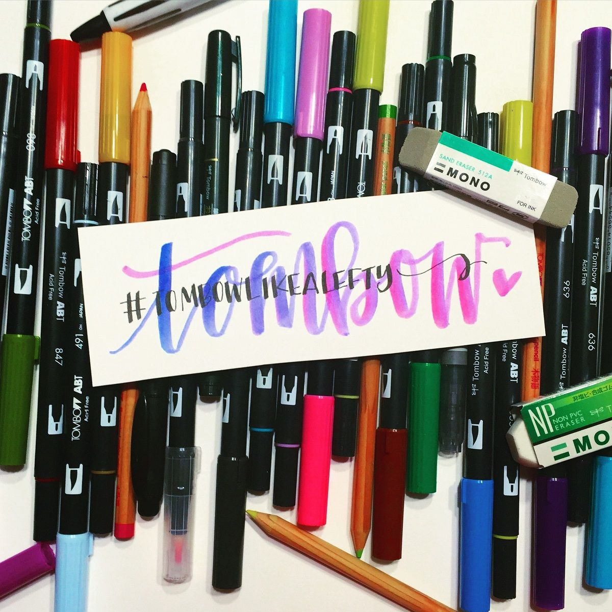 Lettering week tombow like a lefty with lauren brush