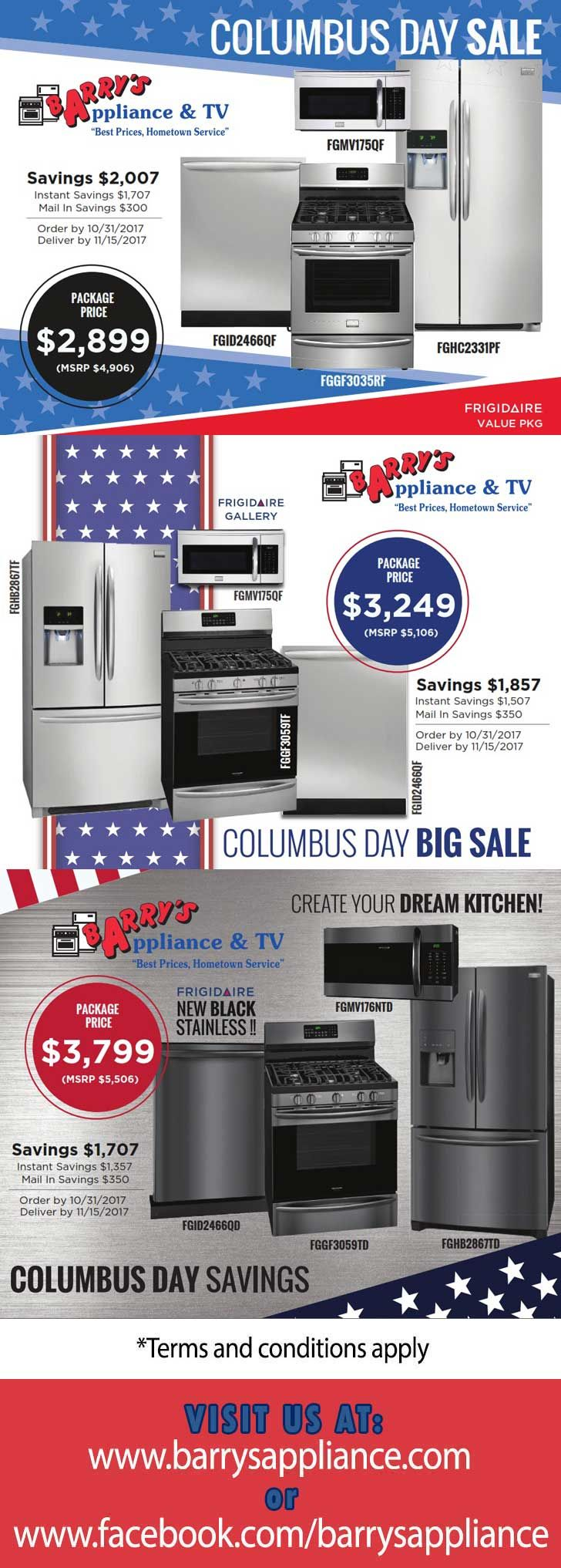 COLUMBUS DAY SAVINGS! FRIGIDAIRE Packages  Order by 10/31